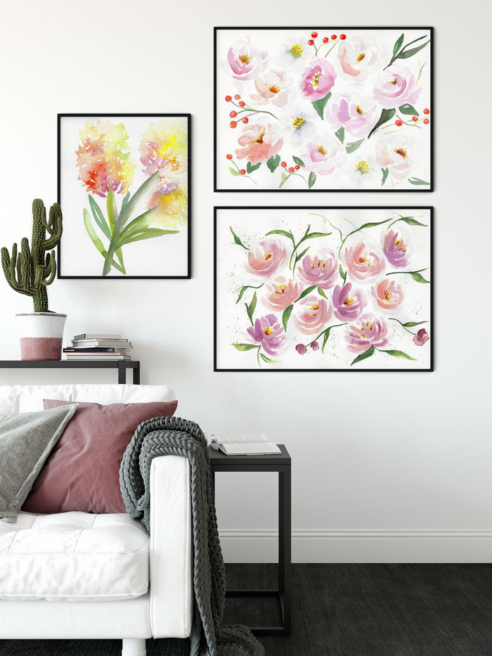 watercolor flower art prints gallery wall - flavia bernardes art
