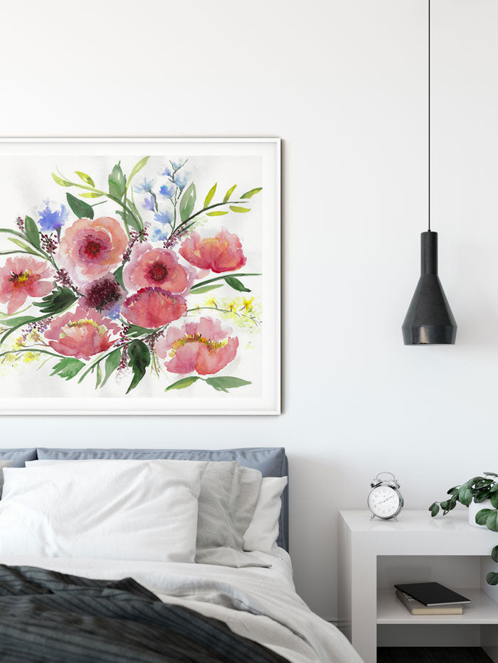 large watercolor flower wall art