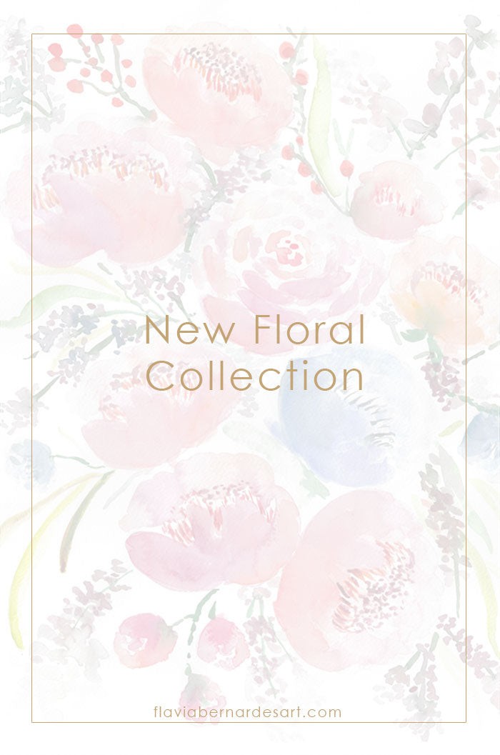 new floral collection watercolor flowers wall art - flavia bernardes art