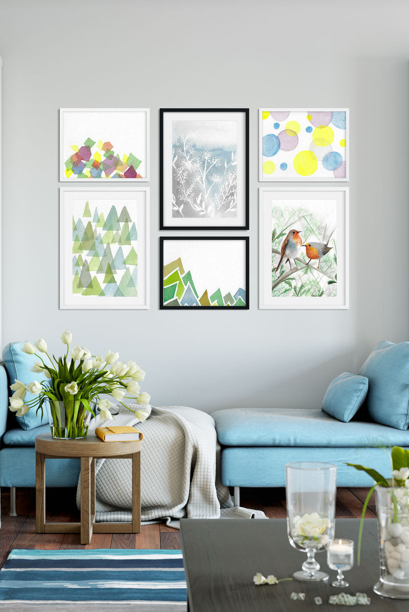 living room Scandinavian gallery wall with turquoise sofa