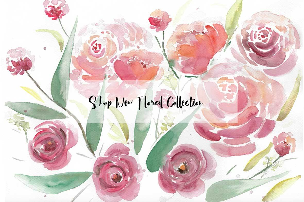 watercolor floral collection watercolor flower wall art