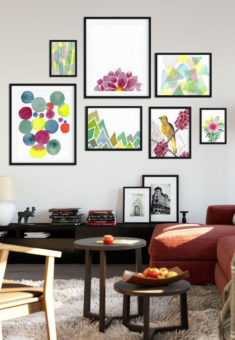 watercolor-prints-gallery-wall-in-living-room---flavia-bernardes-art
