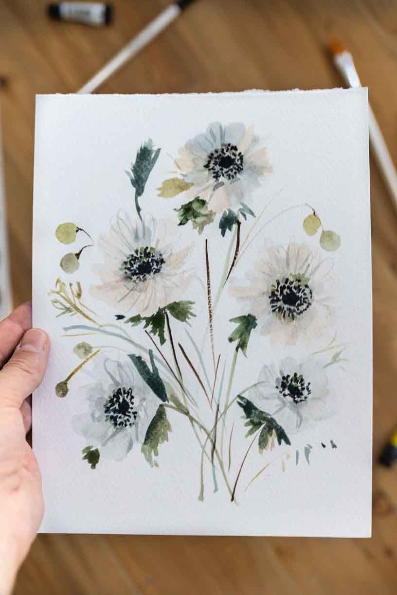 white watercolor flowers