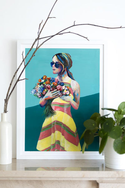 Aqua Green painting woman with sunglasses holding flowers Flavia Bennard