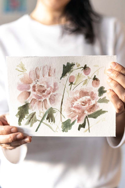 Flavia Bennard pink watercolour peonies flowers painting