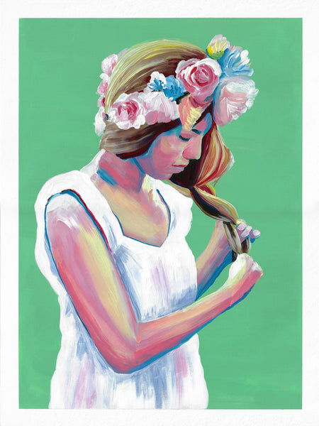 Green painting woman with flowers in her hair Flavia Bennard