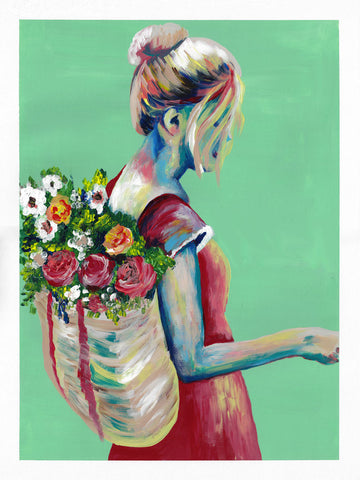 Aqua Green painting woman with with flowers in backpack Flavia Bennard