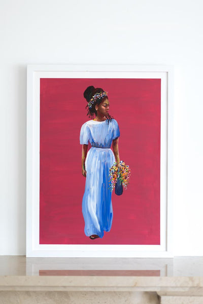 Red painting of strong poised black woman with flowers Flavia Bennard