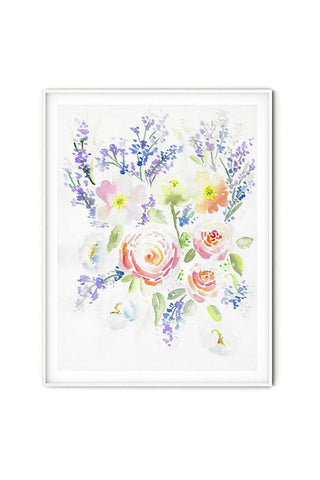 Modern watercolor flowers wall art ranunculus-poppies-lavender flavia bernardes art