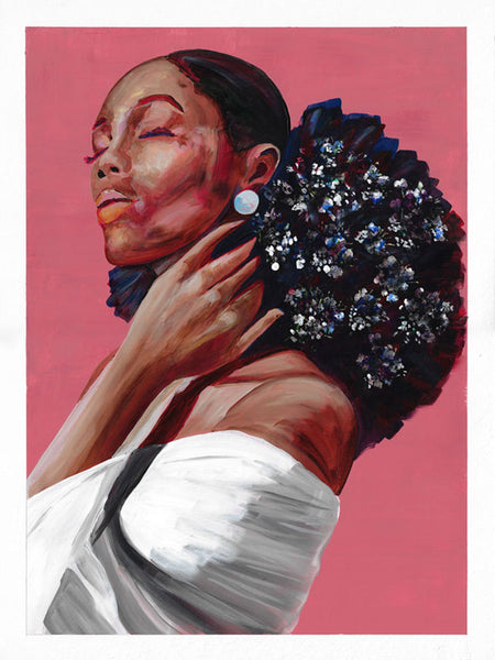 Pink-painting-of-black-woman-with-flowers-in-her-hair