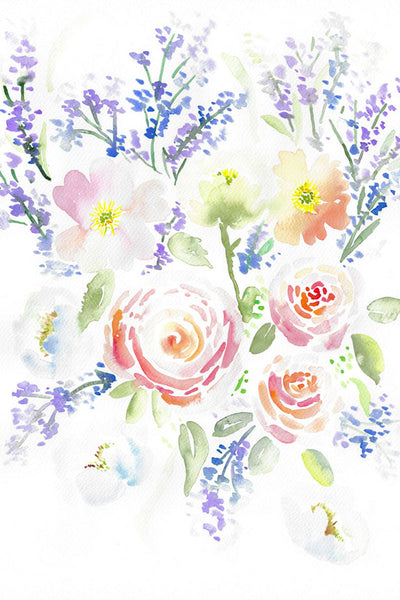 """Ranunculus Lavender Poppies Rhapsody"" vertical watercolor floral print"