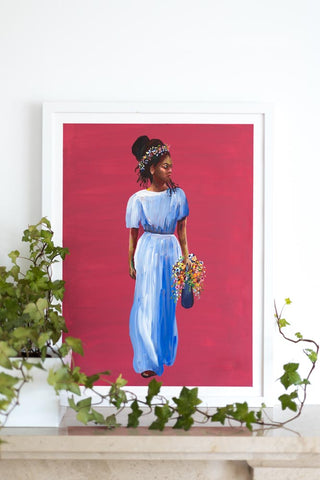 Red painting of confident poised black woman with flowers Flavia Bennard