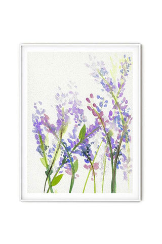 Soft feminine watercolor lavender flowers wall art flavia bernardes art