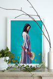 Blue painting Asian lady with flowers Flavia Bennard
