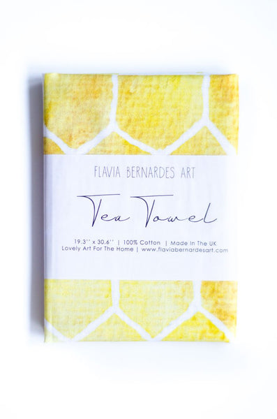 Yellow geometric watercolor tea towel Flavia Bernardes Art