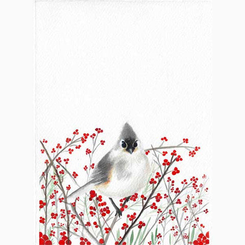 original art - watercolor bird sitting on a branch with red Cherries - flavia bernardes art