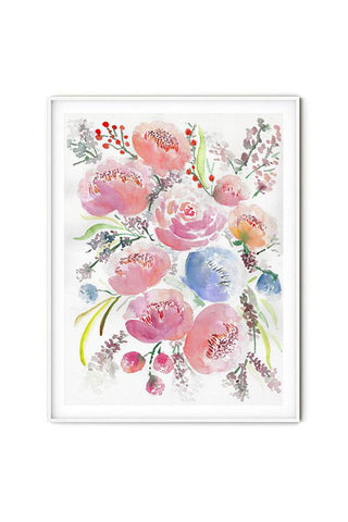 beautiful modern soft feminine watercolor flowers wall art flavia bernardes art