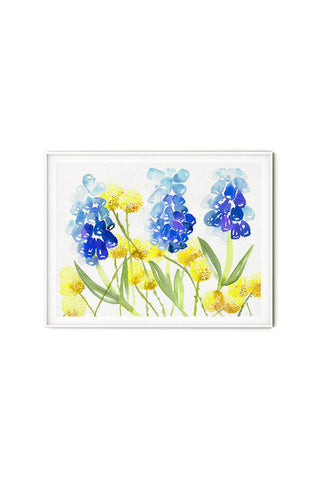 blue and yellow watercolor flowers wall art flavia bernardes art
