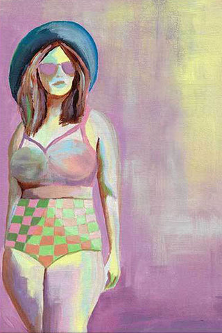 canvas painting - body positive art-beach body - flavia bernardes art