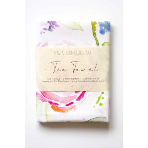 floral watercolor tea towel Flavia Bernardes Art
