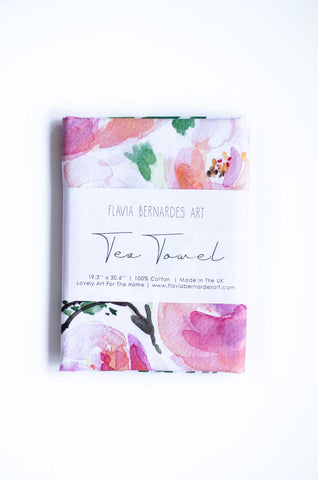 Watercolor floral tea towel Flavia Bernardes Art