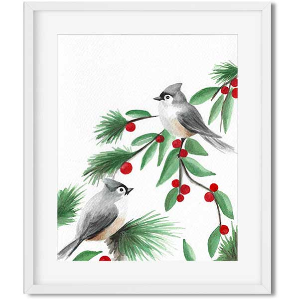 original art - watercolor birds sitting on a branch with red Cherries - flavia bernardes art