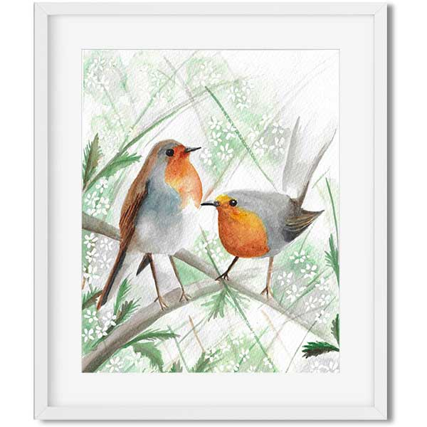 original art - watercolor robins sitting on a branch with white flowers - flavia bernardes art
