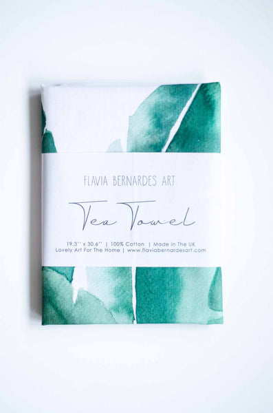 Green watercolor tea towel Flavia Bernardes Art