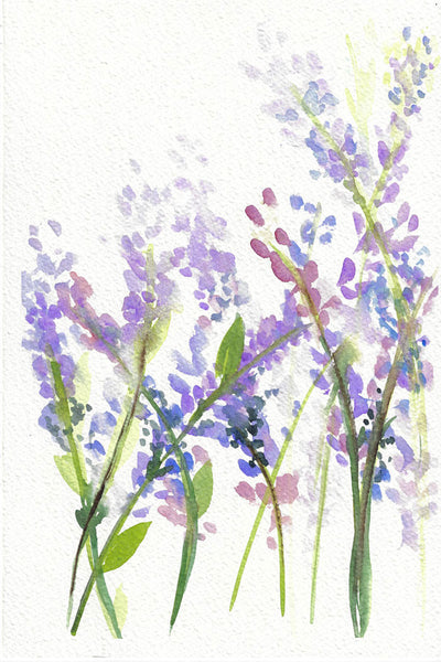 """Lavender Poetry"" vertical watercolor floral print"