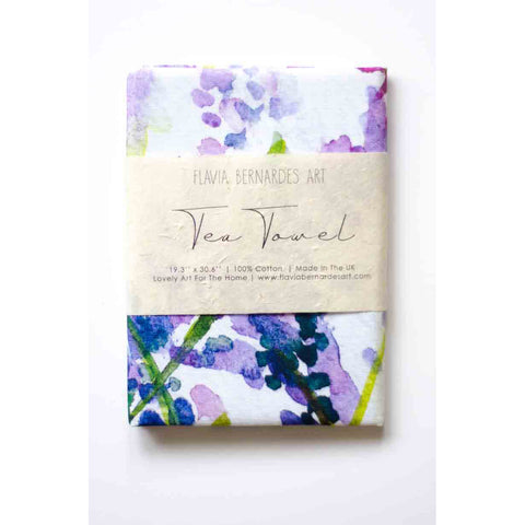 lavender watercolor tea towel flavia bernardes art