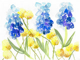 """Muscari Craspedia Play"" vertical watercolor floral print"