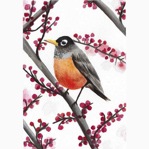 original art - watercolor bird sitting on a branch with pink flowers - flavia bernardes art