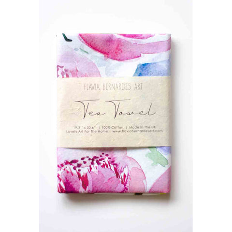peonies watercolor tea towel Flavia Bernardes Art