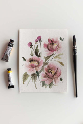 soft pink watercolor flowers bouquet painting Flavia Bennard