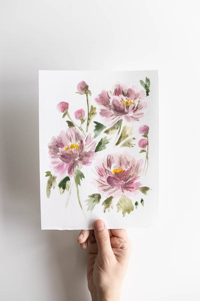 pink watercolor flowers bouquet Flavia Bennard