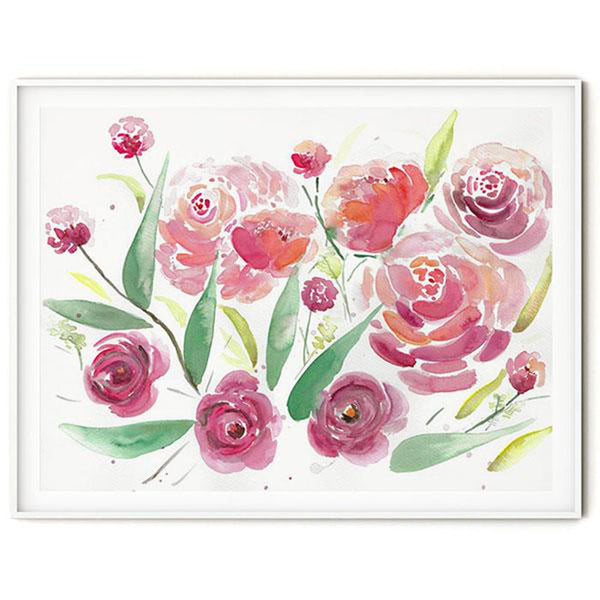 red pink watercolor peonies roses flowers wall art flavia bernardes art