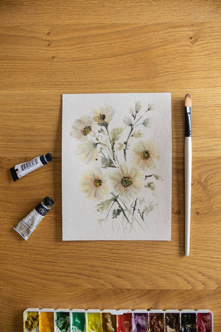 soft watercolour flowers painting Flavia Bennard