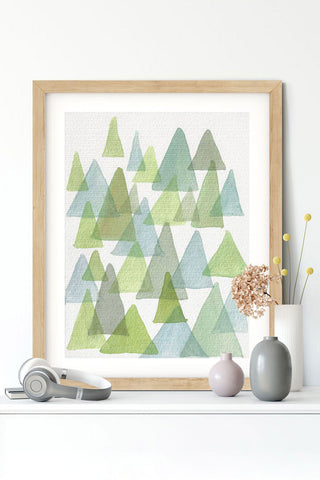 """enchanted forest"" vertical watercolor abstract print"