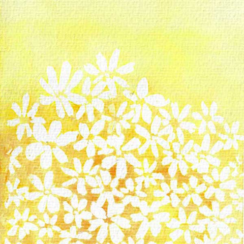 watercolor botanical print - yellow and white flowers - negative space - flavia bernardes art