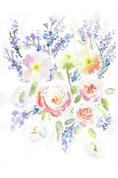 Ranunculus Lavender Poppies Rhapsody - Original Watercolor Floral Painting