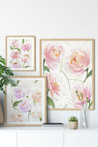 """Three-Part Love Story"" set of 3 vertical watercolor abstract prints"