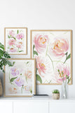 """Peonies Ranunculus Bouquet"" vertical watercolor floral print"