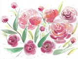 """Red And Pink Harmony"" vertical watercolor floral print"