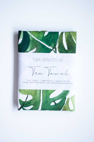 green watercolor monstera deliciosa tea towel