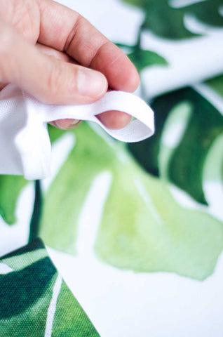 watercolor tea towel with hanging loop