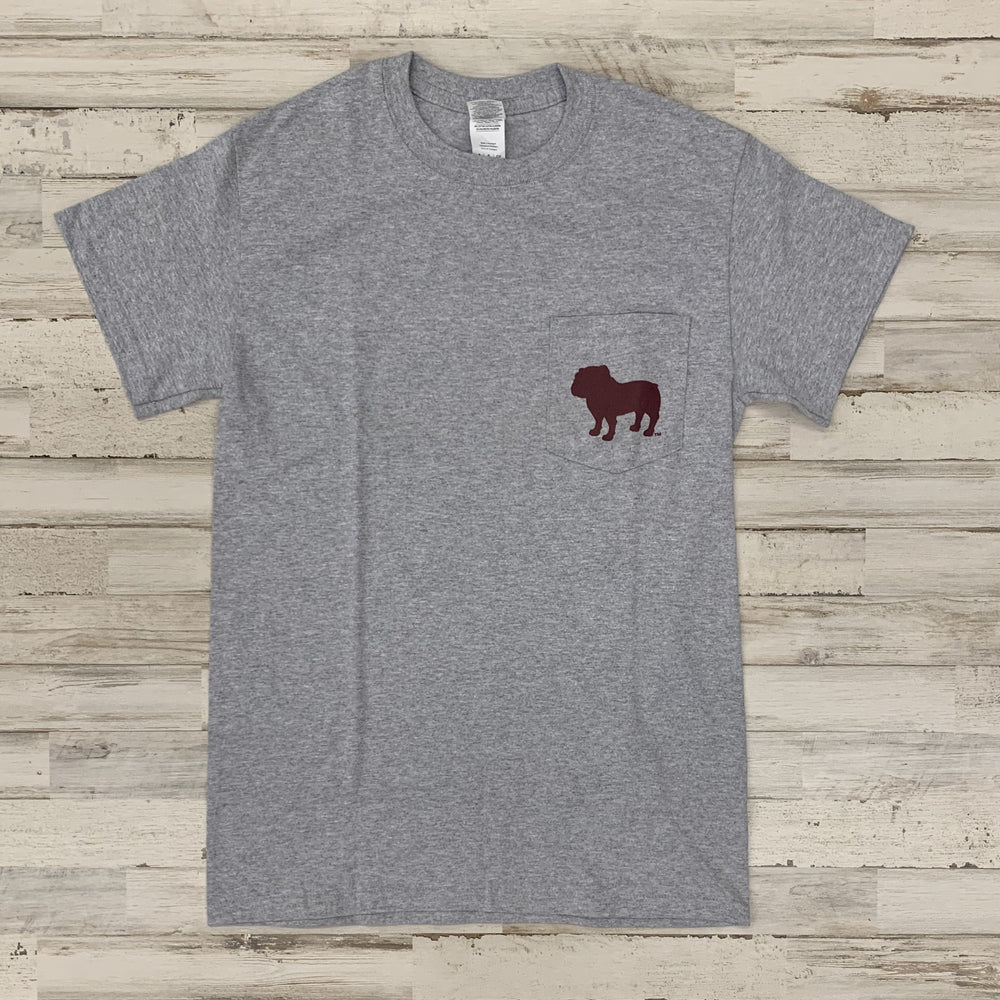 Mstate Logo Bulldog Pocket Tee Grey