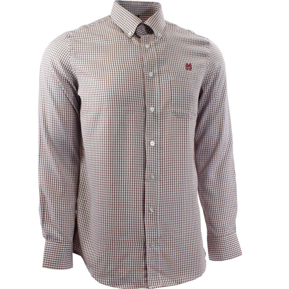 MSU Baseball Plaid Button Up - Maroon