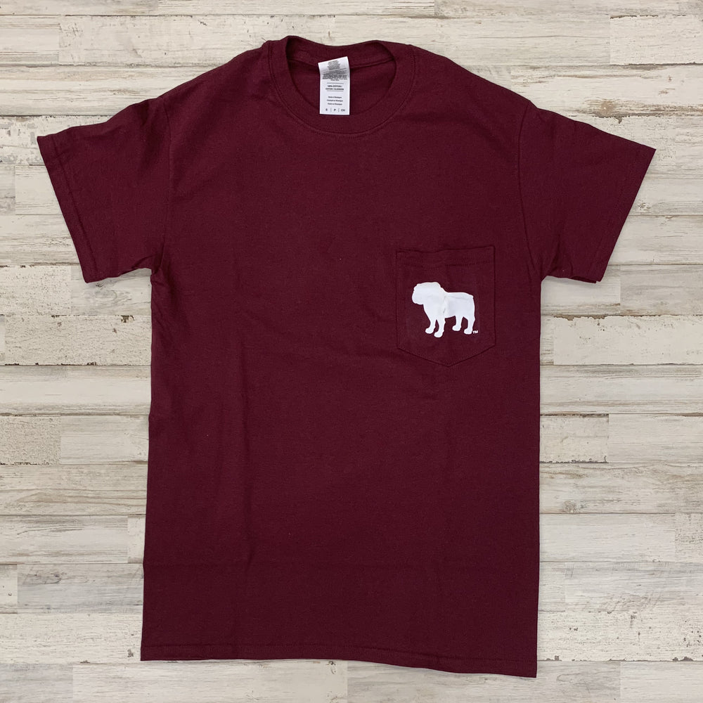 Mstate Logo Bulldog Pocket Tee Maroon