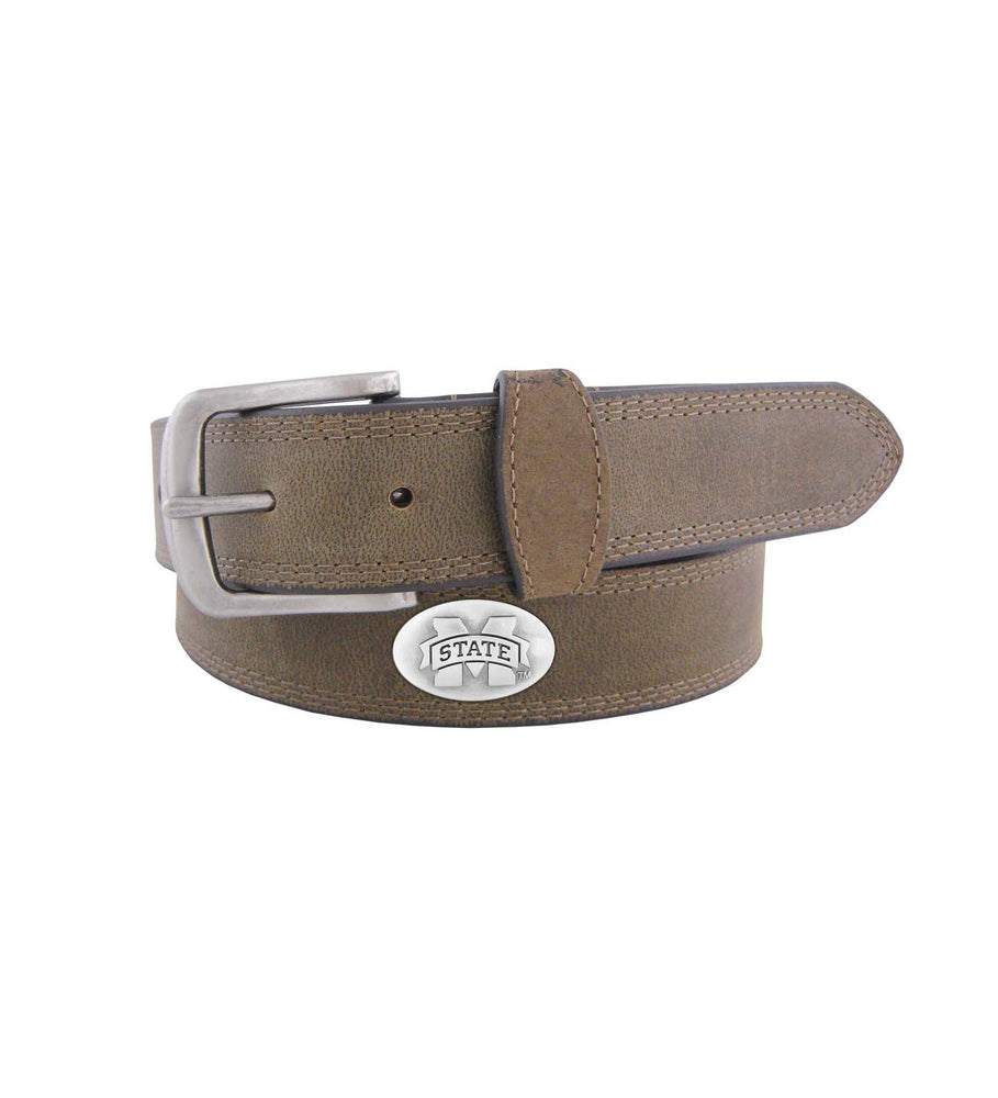 Youth MSU Brown Leather Concho Belt