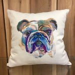 Watercolor Bulldog Head Pillow